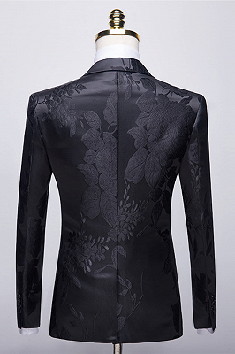 Stylish Notched Lapel Two Buttons Men's Suits | Floral Jacquard Black Wedding Tuxedos_2