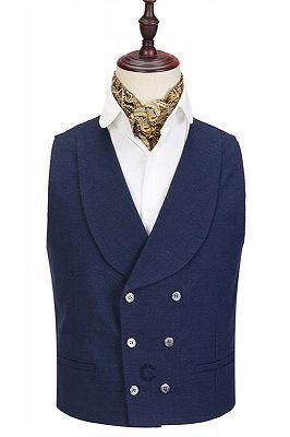 Cody Dark Blue Three-Piece Fashion Peaked Lapel Wedding Men Suits Sale_2