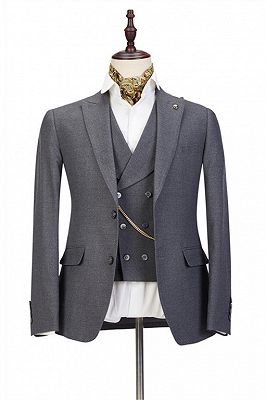 Mark Three Pieces Peaked Lapel Gray Business Men Suits_1