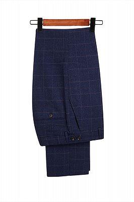 Classic Blue Plaid Peak Lapel 3 Piece Men's Suit with Double Breasted Waistcoat_4