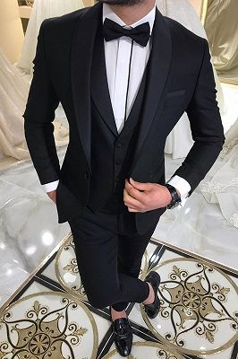 3 Piece Black Men's Suits for Groom | Shawl Lapel Wedding Tuxedos with Waistcoat_1