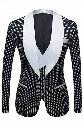 Shane Black Dot Slim Fit Shawl Lapel Wedding Tuxedo for Men