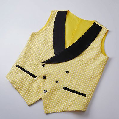 Travis Yellow Dot Shawl Lapel Cheap Wedding Groom Suits for Sale_3