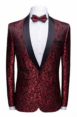 Modern Burgundy Jacquard Wedding Tuxedos | Shawl Lapel Black Satin Men's Prom Suits Cheap-Toby_1