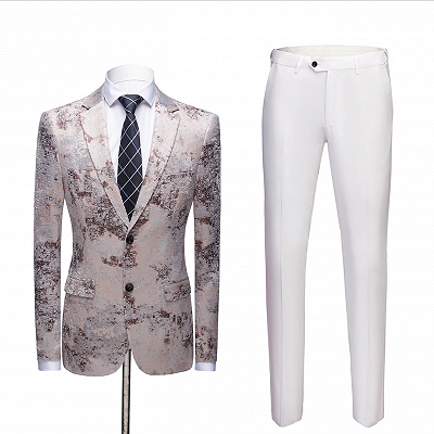 Light Brown Men's Prom Suits   Printing Wedding Tuxedos with White Pants_2