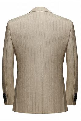 Gentle Khaki Striped Peak Lapel Formal Men's Suit for Business_2