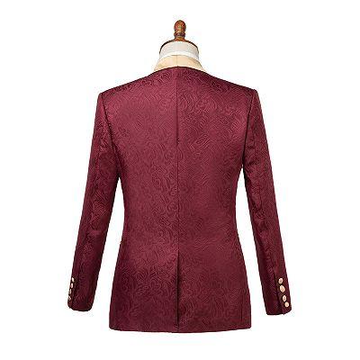 Dominic Stylish Burgundy Slim Fit Jacquard Wedding Suit for Men_3
