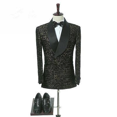 Garrett Black Slim Fit Shawl Lapel Double Breasted Wedding Groom Suits_4