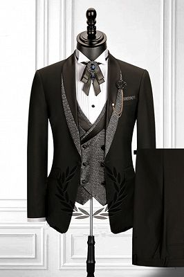 Stitching Shawl Lapel Black 3 Piece Men's Suit with Double Breasted Waistcoat_1