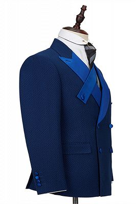 Jonah Navy Blue Plaid Peaked Lapel Double Breasted Formal Business Men Suits_2