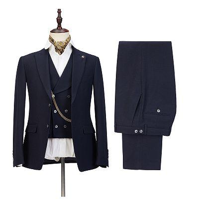 Ashton Black Three-Piece Peaked Lapel Elegant Wedding Suits for Men_2