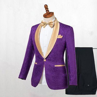 Antonio Purple One Button Gold Lapel Wedding Men Suit Online_2