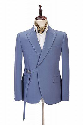 Preston Ocean Blue Peaked Lapel Slim Fit Men Suits for Prom_1