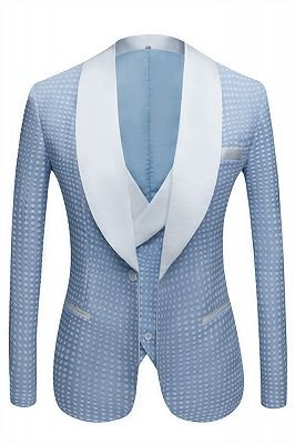 Edwin Sky Blue Fashion Dot Wedding Groom Suits with Shawl Lapel