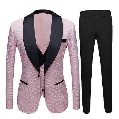 Hudson Pink Shawl Lapel Dot Wedding Men Suits Online_4