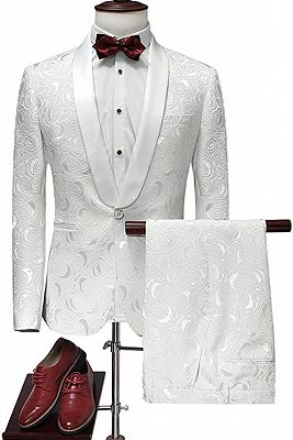 Latest White Jacquard Suits for Wedding Tuxedos Groom Wear | Shawl Lapel Groomsmen Outfit Man Blazers 3Piece_1