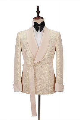 Seth Champagne Shawl Lapel Slim Jacquard Wedding Men Suits_1