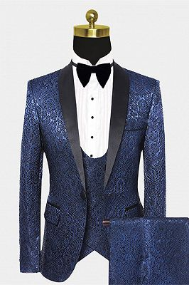 Gentle Dark Navy Damask Floral Men's Wedding Tuxedos Prom Suits with Black Satin Lapel_1