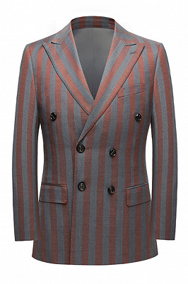 Red and Gray Stripes Formal Men's Suits | Modern Double Breasted Prom Suits_1