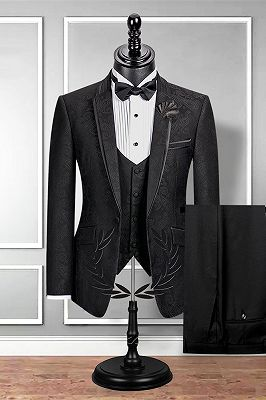 Classic Notch Lapel Black Groom Suit | Slim Fit Jacquard Wedding Tuxedos Cheap_2