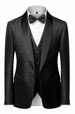Classic Black Satin Shawl Lapel Jacquard Suits Men's Wedding Tuxedos_1