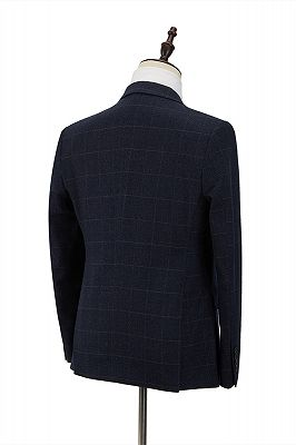Formal Dark Navy Plaid Peak Lapel 3 Piece Men's Suit with Double Breasted Waistcoat_2