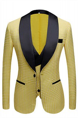 Travis Yellow Dot Shawl Lapel Cheap Wedding Groom Suits for Sale