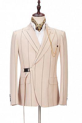 Ivan Light Champagne Fashion Striped Peaked Lapel Prom Men Suits_1