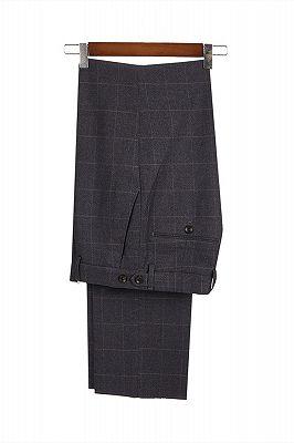 Classic Dark Gray Plaid Peak Lapel 3 Piece Men's Suit with Double Breasted Waistcoat_4