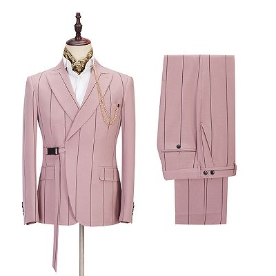 Nolan Pink Striped Peaked Lapel Fitted Men Suits Online_2