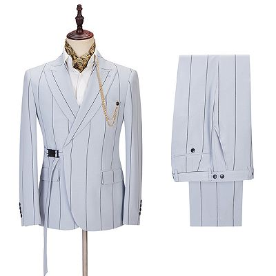 Damian Handsome Striped Peaked Lapel Men Suits Online_2