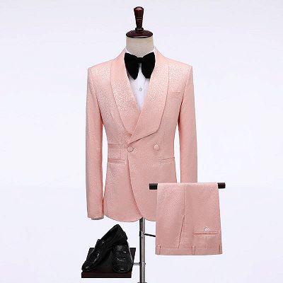 Eli Pink Double Breasted Jacquard shawl Lapel Wedding Men Suits_2