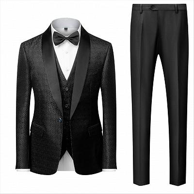 Classic Black Satin Shawl Lapel Jacquard Suits Men's Wedding Tuxedos_2