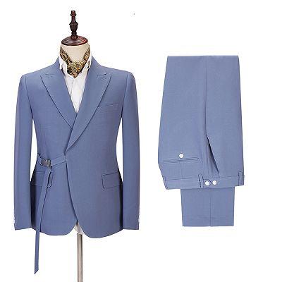 Preston Ocean Blue Peaked Lapel Slim Fit Men Suits for Prom_3