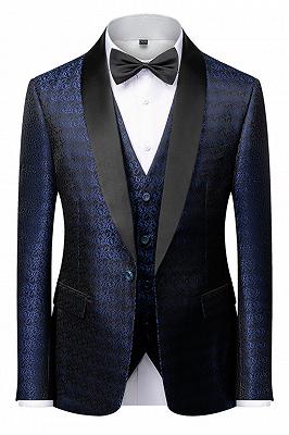 Popular Dark Navy Blue Men's Wedding Tuxedos | Black Satin Lapel Jacquard Prom Suits_1