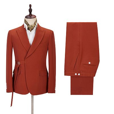 Giovanni Newest Peaked Lapel Slim Fit Orange Men Suits for Casual_3