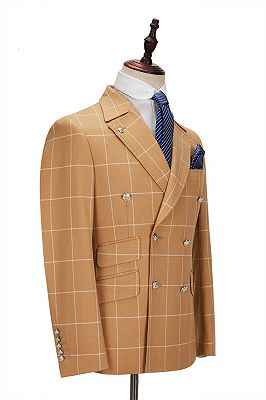 Peak Lapel Flap Pockets Double Breasted Plaid Orange Men's Business Suit for Formal_2