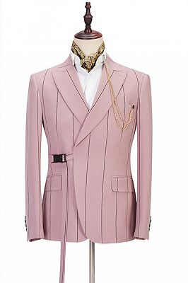 Nolan Pink Striped Peaked Lapel Fitted Men Suits Online_1