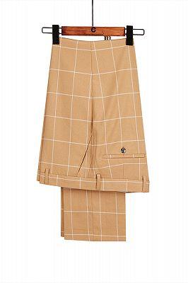 Peak Lapel Flap Pockets Double Breasted Plaid Orange Men's Business Suit for Formal_4