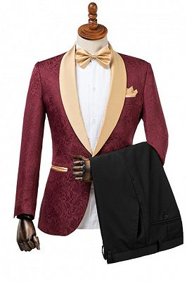 Dominic Stylish Burgundy Slim Fit Jacquard Wedding Suit for Men_1