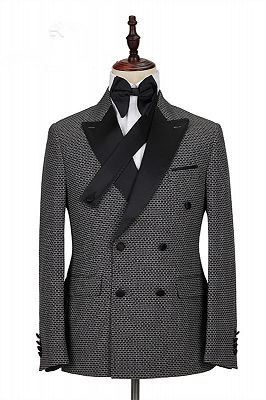 Grant Black Plaid Peaked Lapel Double Breasted Men Suits_1