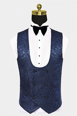 Gentle Dark Navy Damask Floral Men's Wedding Tuxedos Prom Suits with Black Satin Lapel_2