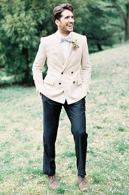 Ivory Wedding Tuxedos For Groom | 2 Pieces Set Groomsmen Best Man Suit Bridegroom_1