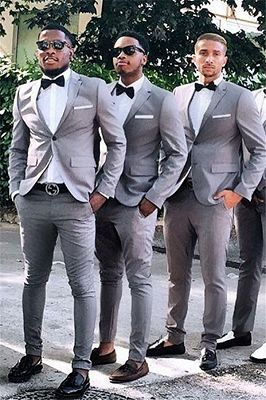 Jeremiah Gray Slim Fit One Button Cheap Groomsmen Suits for Wedding_1