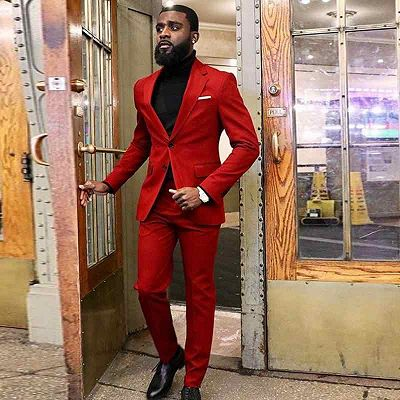 New Arrival Red Two Piece Slim Fit Prom Men Suit_2