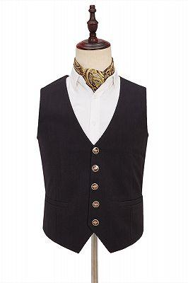 Light Khaki Notch Lapel 3 Piece Men's Suit with Dark Coffee Waistcoat_3