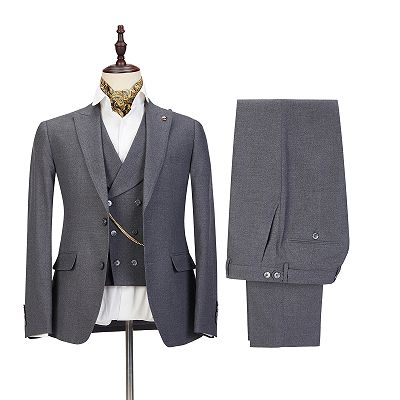 Mark Three Pieces Peaked Lapel Gray Business Men Suits_2