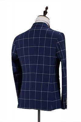 Dark Blue Three Flap Pockets Double Breasted Plaid Men's Formal Suit for Business_2
