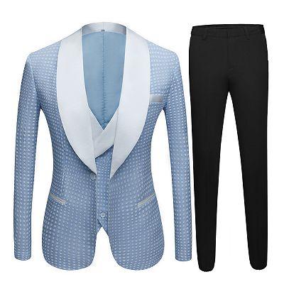 Edwin Sky Blue Fashion Dot Wedding Groom Suits with Shawl Lapel_4