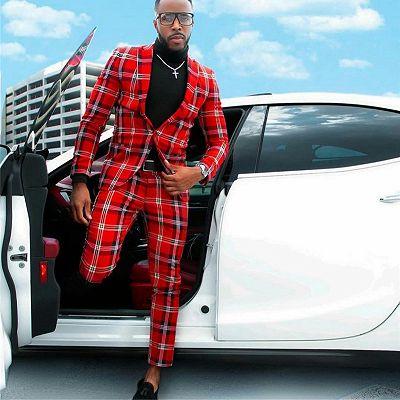Sebastian Red Plaid One Button Formal Business Men Suits_3
